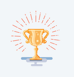 Flat trophy gold cup vector