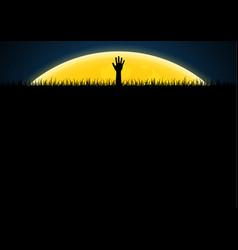 halloween zombie hand graveyard grass vector image