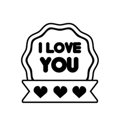 I love you decor ribbon label outline vector