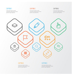 Interface outline icons set collection of trash vector