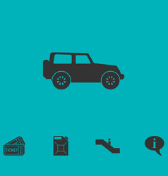Jeep travel icon flat vector