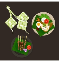 Lebaran ketupat idul fitri ied food sate opor ayam vector