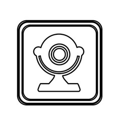 Monochrome contour of button with desktop webcam vector