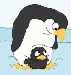 Mother Penguin Watching Her Baby vector image