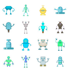 Robot icons set cartoon style vector