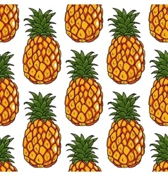 Seamless pattern of pineapples fruits vector