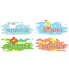 Seasons typographic poster sticker vector