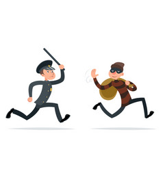 thief escape loot policeman run character retro vector image