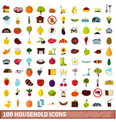 100 household icons set flat style vector image