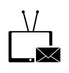 Tv with antenna and envelope message icon vector