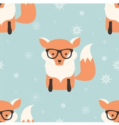 Seamless Merry Christmas pattern with hipster fox vector image