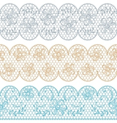 Lace fabric seamless borders with abstact flowers vector image