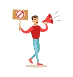 Man with megaphone marching in protest with banner vector