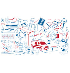 hand drawn healthcare elements collection vector image