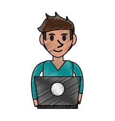 Person desk doodle vector