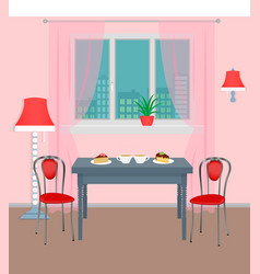 Dinner room interior with coffee and dessert on vector