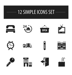 Set of 12 editable hotel icons includes symbols vector