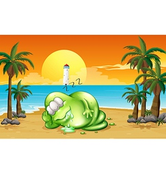 A monster sleeping soundly at the beach vector
