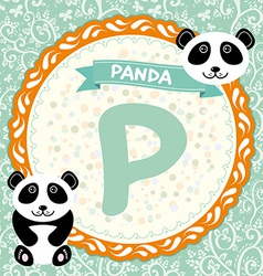 ABC animals P is panda Childrens english alphabet vector image