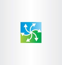Green blue arrows recycling symbol vector