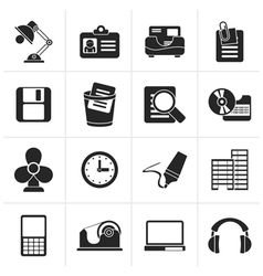 Black office and business icons vector