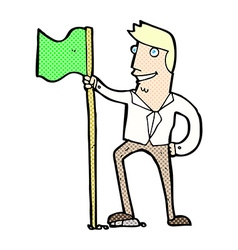 Comic cartoon man planting flag vector