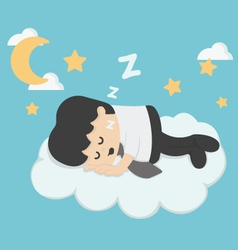 Businessman sleeping on clouds vector