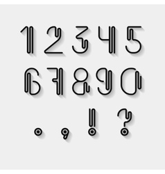 Original curved numerals and punctuations set vector image
