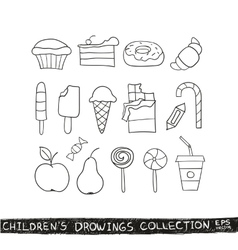Kid hand drawing tasty food collection vector