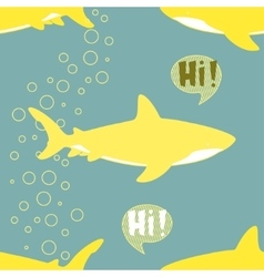 Seamless Pattern with cute sharks vector image