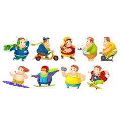 Set of funny fat man sport vector