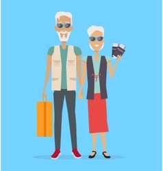 Travel in old age concept in flat design vector