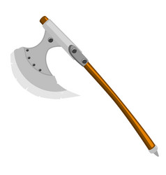 Axe of barbarian with wooden handle on white vector