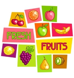 Background design with stylized fresh ripe fruits vector