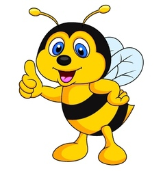 Bee cartoon thumb up vector