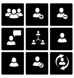 black office people icon set vector image vector image