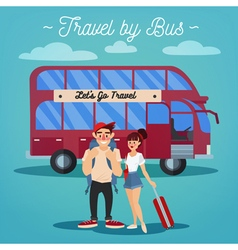 Bus travel active people girl with baggage vector