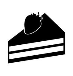 cake portion with strawberry vector image vector image