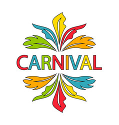 carnival logo template with colorful feathers vector image