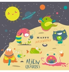 Cartoon alien and space vector image vector image