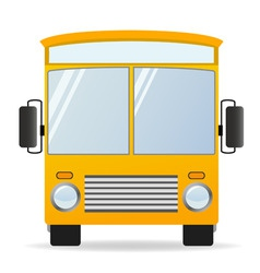 cartoon yellow bus in front view vector image
