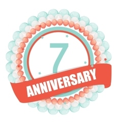 Cute template 7 years anniversary with balloons vector