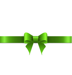 green bow with ribbons on white background vector image