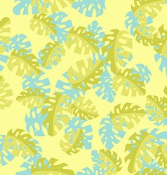 Hawaiian seamless pattern with Monstera leaves vector image