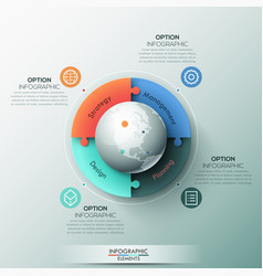 Infographic design template 4 connected jigsaw vector