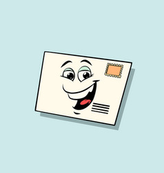 letter mail envelope cute smiley face character vector image vector image