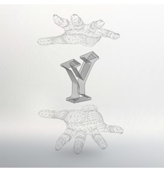letter Y and hand of lines vector image