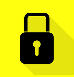 Lock sign black icon with flat style vector