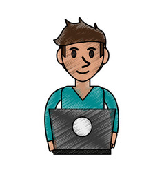 Person desk doodle vector