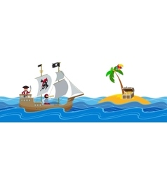 Pirate treasure hunt flat vector